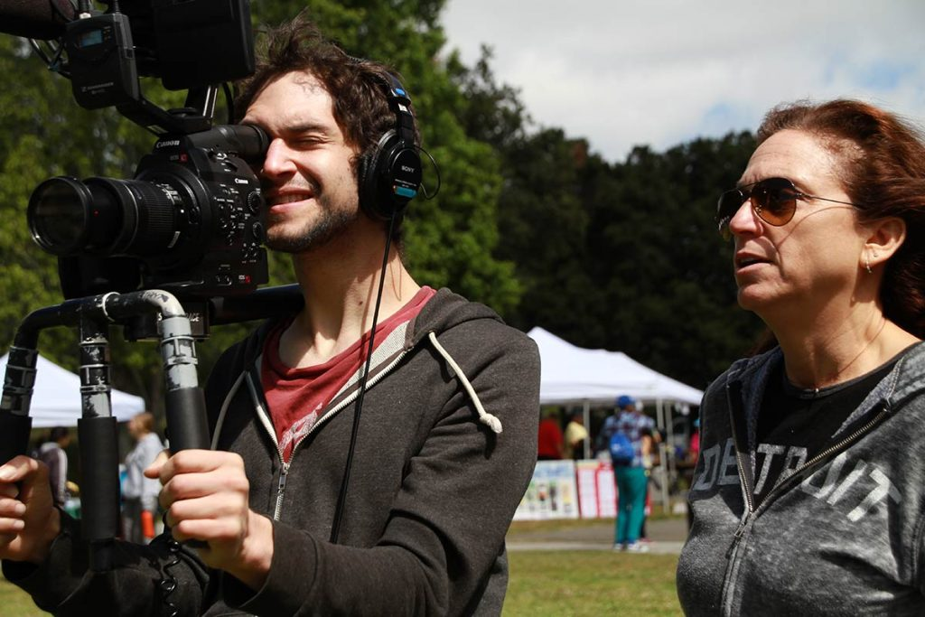 Josh with Director Lisa Klein filming for The S Word in Oakland, California, 2016.