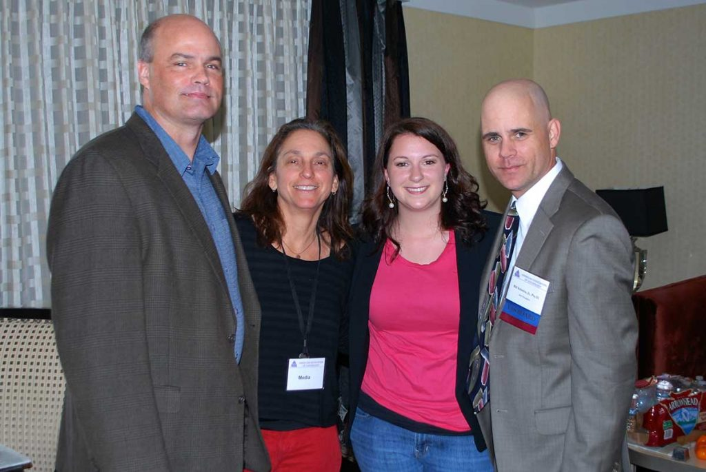 From left to right, Dr. Thomas Joiner, Lisa Klein, Director of The S Word, Samantha Nadler, and Dr. Schmitz together at the American Association of Suicidology Conference, 2014.