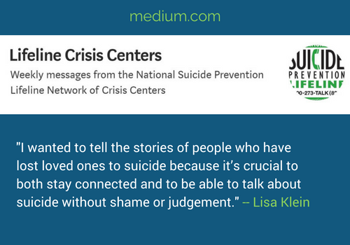 Article by Lisa for Lifeline Crisis Center